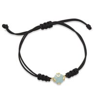 Adjustable Cord Bracelet with Faceted Blue Glass Charm