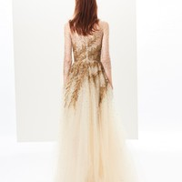 Fern Embroidered Tulle Illusion-Neck Gown
