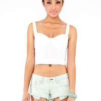 Eyelet Corset Top in White :: tobi