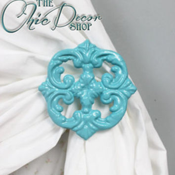 Curtain Tie Backs, Set of Two, Turquoise, Curtain Tiebacks, Curtain Holdbacks, Shabby Chic