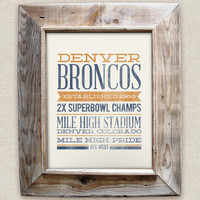DENVER BRONCOS - 8x10- Rustic - Vintage Style - Typographic Art Print - Subway Style - Football
