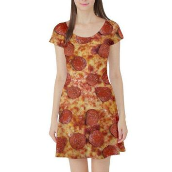Pepperoni Pizza Short Sleeve Skater Dress