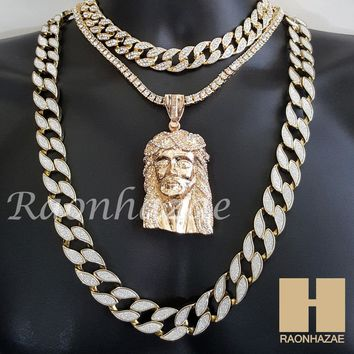 """Hip Hop Iced Out Jesus Pendant 16"""" Iced Out Choker 18"""" Tennis 30"""" Cuban Chain 22"""
