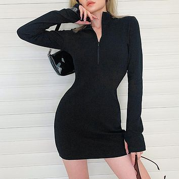 Autumn Women Casual All-match Solid Color Zip Long Sleeve Bodycon Mini Dress