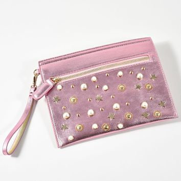 Pink & Gold Studded Pearl Clutch