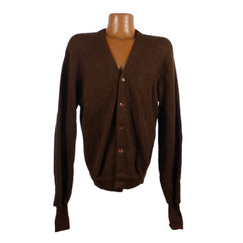 Cardigan Sweater Vintage 1960s Brown Jantzen Wool  Men's