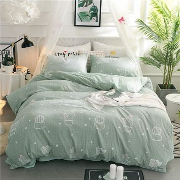 Cool Special offer Green cactus Bedding Sets printed duvet cover set sheets pillowcase queen twin full king size kid girl bedclothesAT_93_12