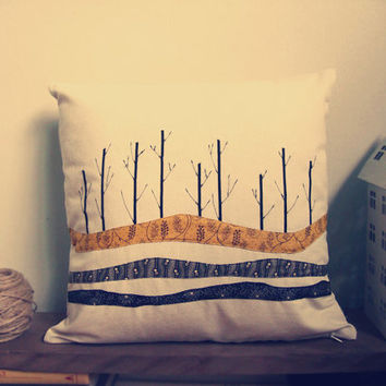 """trees silhouette pillowcase, decorative throw pillow case, fabric pattern, simple home decor, size 17"""" x 17"""""""