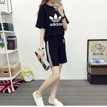"""""""Adidas"""" Fashion Casual Clover Letter Print  Stitching Short Sleeve Set Two-Piece Sportswear"""