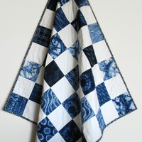 Shibori Baby Quilt, Crib Quilt, Nursery Decor, Blue and White Patchwork Quilt