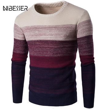 Mens Casual Sweater O-Neck Striped Slim Fit Long Sleeve Patchwork Sweater