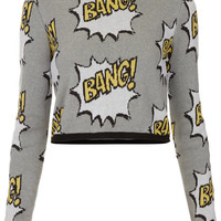 Knitted BANG Motif Crop Jumper - Topshop USA