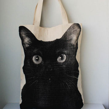Black cat big size Canvas tote bag/Diaper by Tshirt99 on Etsy