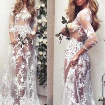 Fashion Simple Hook Flowers Lace Gauze Perspective Long Sleeve Round Neck Maxi Dress