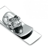 Skull Designs Men Sliver Money Clip Slim Pocket Purse Clamp
