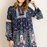 Paisley Dreams Dress - Navy