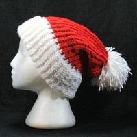 Knit Winter Hat, Santa Hat, Santa Claus, Christmas Hat, Pompom Hat, Red and White Hat, Holiday Hat, Daryl and Cat