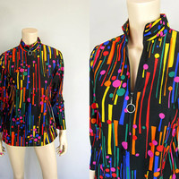 Vintage 70s 80s Neon Rainbow Atomic Dots and Bars Print Blouse Top Mod Tiles New Wave punk emo grunge Carnaby