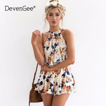 DevenGee Vintage Floral Two Piece Set New Crop Top and Shorts Skirt Set Summer Beach Halter 2 Piece Women Clothing Set