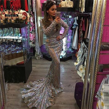 Luxury Sexy Backless Mermaid Tulle Evening Dress Grey Sequined Long Sleeves Evening Gowns 2017 New Serene Hill Robe De Soiree