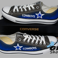 Hand Painted Converse Low. Dallas Cowboys. Football. Superbowl. Charcoal gray. Handpainted Shoes