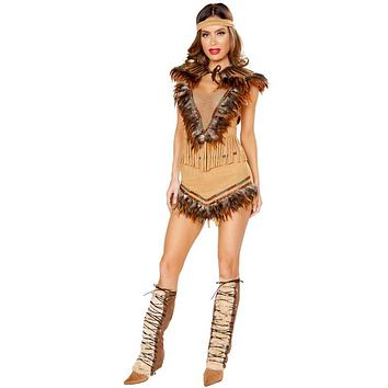 Sexy Native Indian Pocahontas Feather and Fringe Dress and Headband