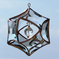 3D Faceted Glass Mobile Globe Suncatcher - Glass  Crystal and Copper Ornament