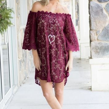 Wine Lace Off The Shoulder Dress