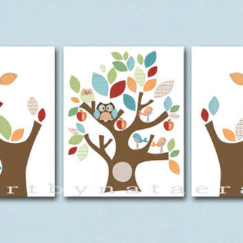 Neutral Nursery Canvas Art Baby Room Decor Baby Nursery Print Baby Wall Art Baby Nursery Decor set of 3 Tree Owls decoration Blue green /