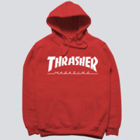 """Thrasher"" skateboard fleece male add wool cotton hoodie flame Red"