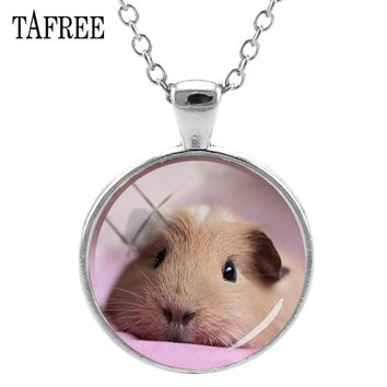 TAFREE Guinea Pig Pendants Necklaces Lovely Elegant Animal Statement Necklace Pendant Choker Glass Dome Women Girl Jewelry QF808