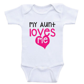 "Sweet Baby Clothes ""My Aunt Loves Me"" Cute One-Piece Baby Shirts"