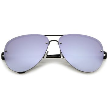 Premium Oversize Rimless Color Mirrored Lens Aviator Sunglasses C365