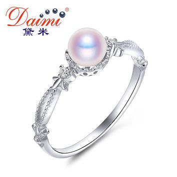 DAIMI 2017 New Design 5-5.5mm Real White Natural Akoya Pearl Ring Genuine 925 Sterling Silver Ring for Women's Gift Fine Jewelry