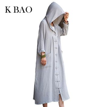 Solid Long sleeve Hooded Women Long Coat Novelty design Chinese style Trench Coats Plus size Autumn Robe Coat black gray brown