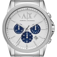 Men's AX Armani Exchange Chronograph Bracelet Watch, 45mm - Silver/ Blue