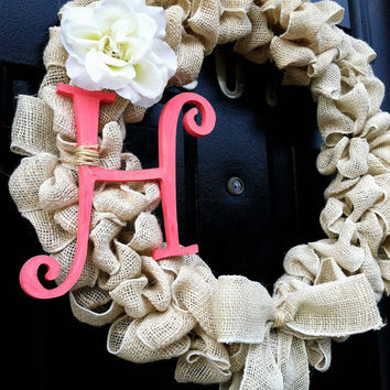 Burlap Monogram Wreath Coral Initial Rustic Fall Decor