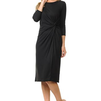 A-Line Midi Dress with Knotted Accent