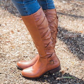 Strappy Criss Cross Riding Boots