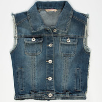 Highway Crochet Back Girls Denim Vest Dark Wash  In Sizes