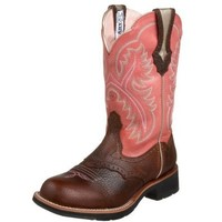 Ariat Women's Showbaby Western Boot, Brown Oiled Rowdy/Wild Rose, 7 M US