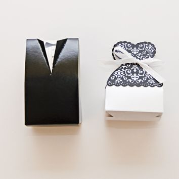 "Bride and Groom Wedding Party Favor Boxes Quality. Wedding supplies, 10 each Dress and Tuxedo Candy Holders Set of 20 for your guests. 3 3/4""t 2 1/2""w. With 12+ feet of Uncut Ribbon for Customization"