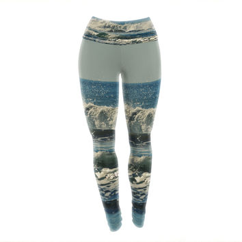 "Robin Dickinson ""Forever Young"" Blue Coastal Yoga Leggings"