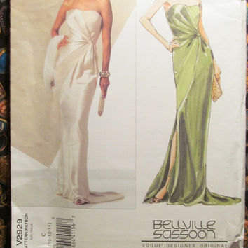 Sale Uncut Bellville Sassoon Vogue Sewing Pattern, 2929! 10-12-14 Small/Medium/Women's/Misses/Bias Dress/Floor Length Evening Gown/Prom/Form