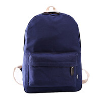 Fashion canvas backpacks for middle school girls candy color solid canvas outdoor camping bag mochila feminina #5208