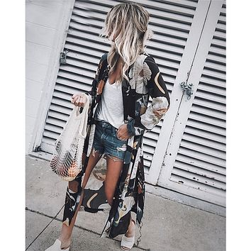 Summer Chiffon Kimono Cardigan Women Floral Printed Long Sleeve Blouse Long Beach Cover Up Tops Boho Ladies Loose Shirt Blusas