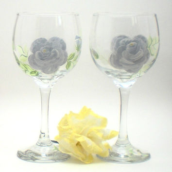 Hand Painted Pair of Shabby Chic Silvery White Roses wine glasses