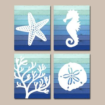 Beach BATHROOM Wall Art, Ombre Beach CANVAS or Print Nautical Bathroom Decor, Starfish Seahorse Coral Reef, Wood Beach Bath Sign Set of 4