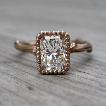Emerald Moissanite Twig Engagement Ring - White, Yellow, or Rose Gold - 1ct - Beaded Bezel