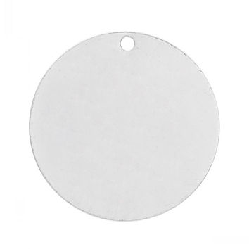 """DoreenBeads Retail Copper Blank Stamping Tags Pendants Round For Necklaces Earrings Bracelets Silver color 25mm(1"""") Dia,20PCs"""